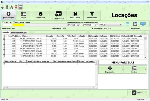 desroupas -dreams : software de locação de roupas/acessórios