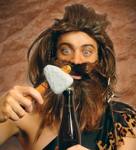 destapador cavernicola / abridor botella cerveza gora gora