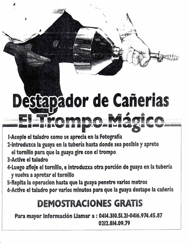 destapador de cañerias electrico -el trompo magico.