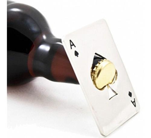 destapador forma de  as poker acero abre sodas