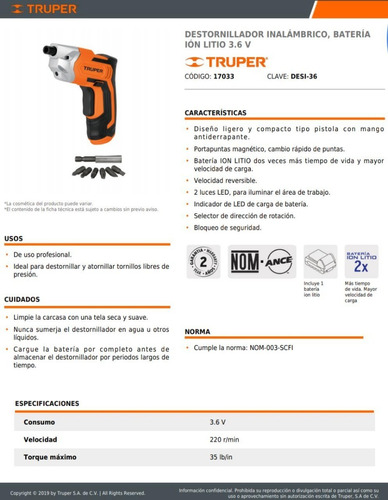 destornillador atornillador eléctrico inalambrico truper
