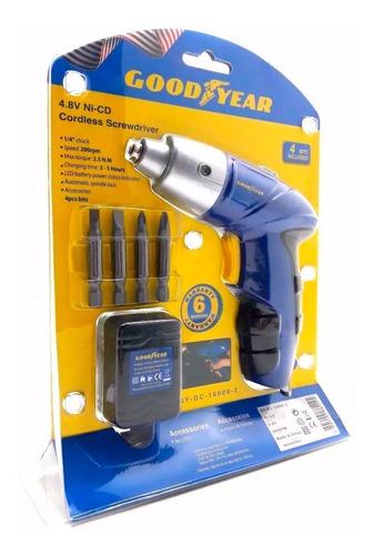 destornillador inalambico good year 4.8v 4 puntas luz led