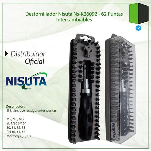 destornillador nisuta ns-k26092 - 62 puntas intercambiables