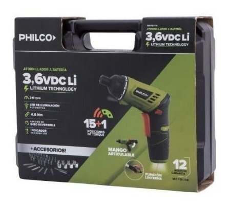 destornillador philco 3.6v + maletin accesorios mepdi116