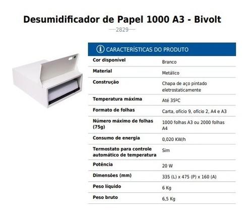 desumidificador de papel bivolt - metálico branco 1000 menno