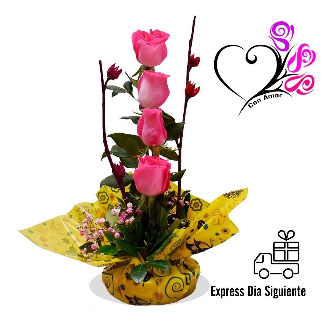 Detalles Arreglos Florales 4 Rosas Rosas Naturales Cdmx