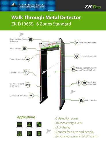 detector de arco de metales de seguridad 6 zonas zkteco