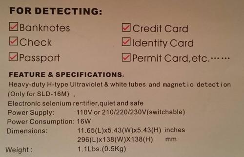 detector de billetes falsos sld-16m(marca de agua/ sello s)