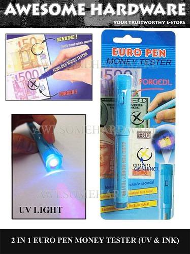 detector de billetes falsos tinta de reconocimiento + luz uv