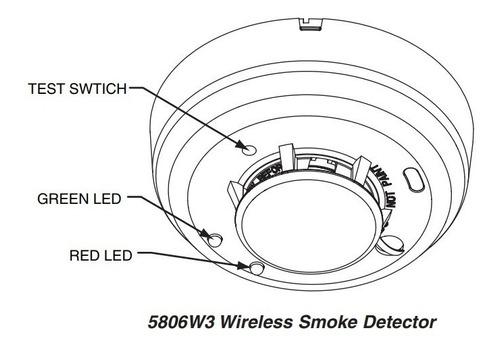 detector inalambrico honeywell 5806-w3 fotoeléctrico de humo