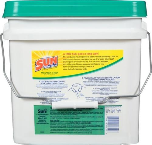 detergente en polvo sun 177 lavadas 22.7 lb - cubo
