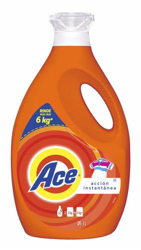 detergente líquido ace acción instantánea 3 lts