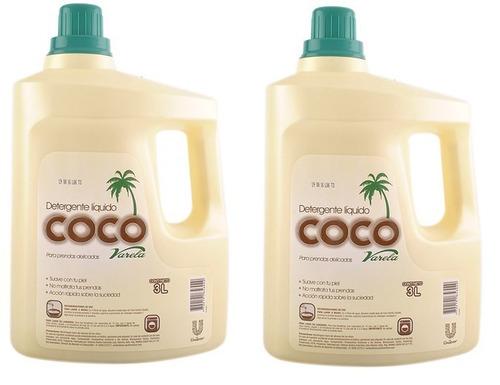 detergente líquido coco 2 botellas - 3 litros c/u