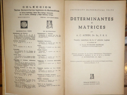 determinantes y matrices aitken dossat madrid