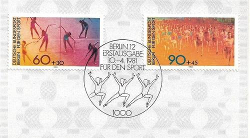 deutsche berlín 1981 tarjeta 1º día serie completa deportes