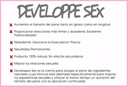 developpe sex 50ml crema retardante y crecimiento de pene