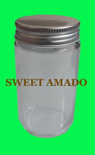 .dez pote comprido de vidro com tampa prata ou dourada 115ml