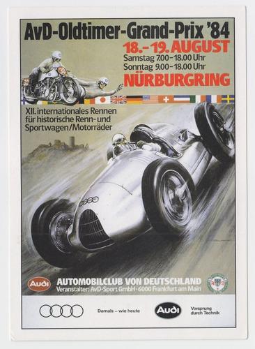 dg- tarjeta audi autos de carrera - alemania 84