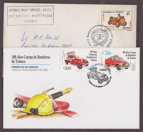 dg- temática carros de bomberos - 2 sobres sellos 1er dia