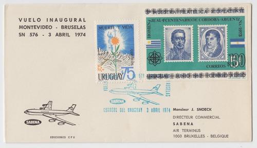dg- uruguay sobre vuelo inaugural mvdeo a bruselas 1974