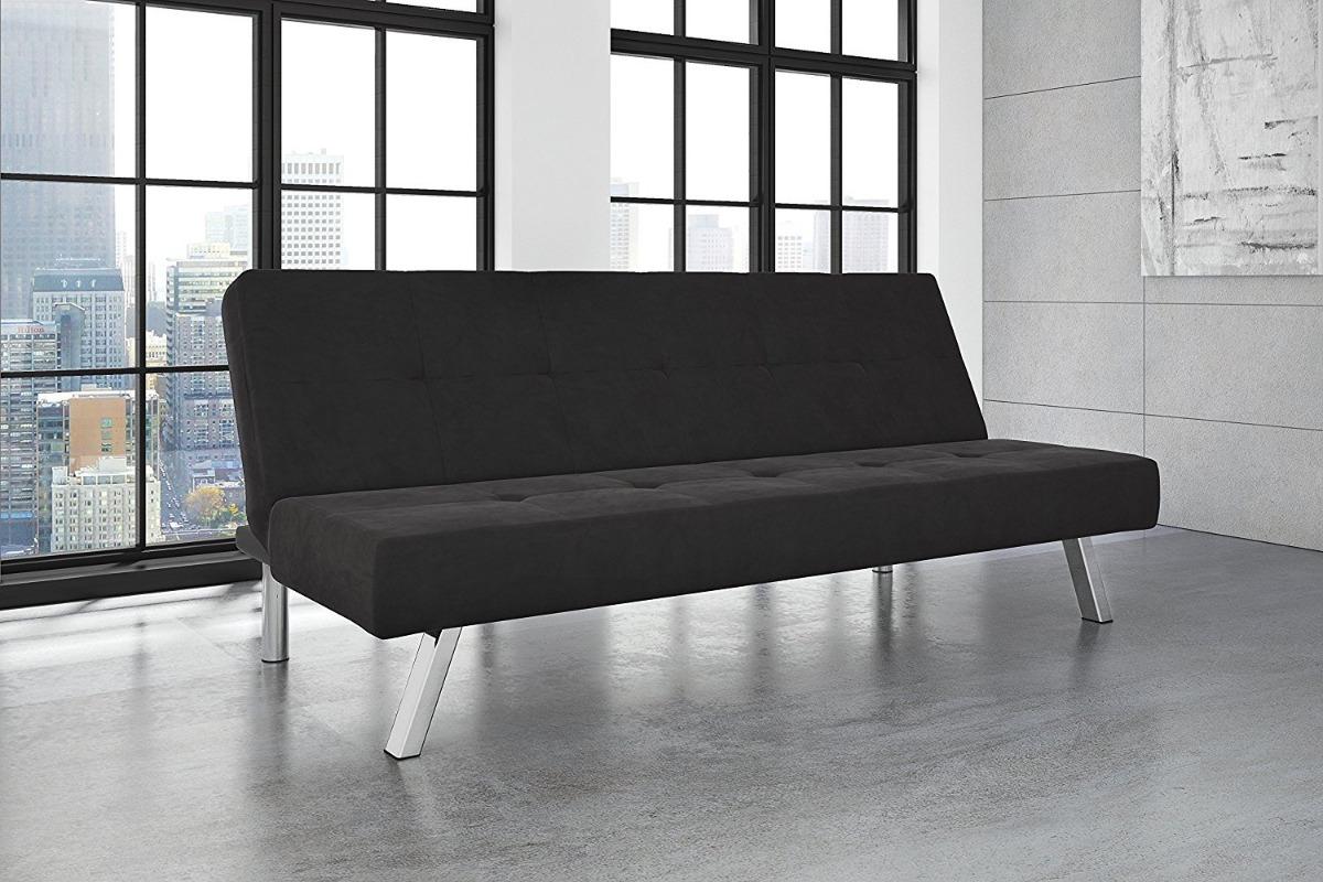 Dhp Zany Microfibra Futon Sillón Sofa Cama Moderno Negro ...