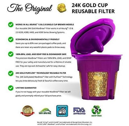di oro - filtro reutilizable maxbrew de k-cup de oro de 24 k