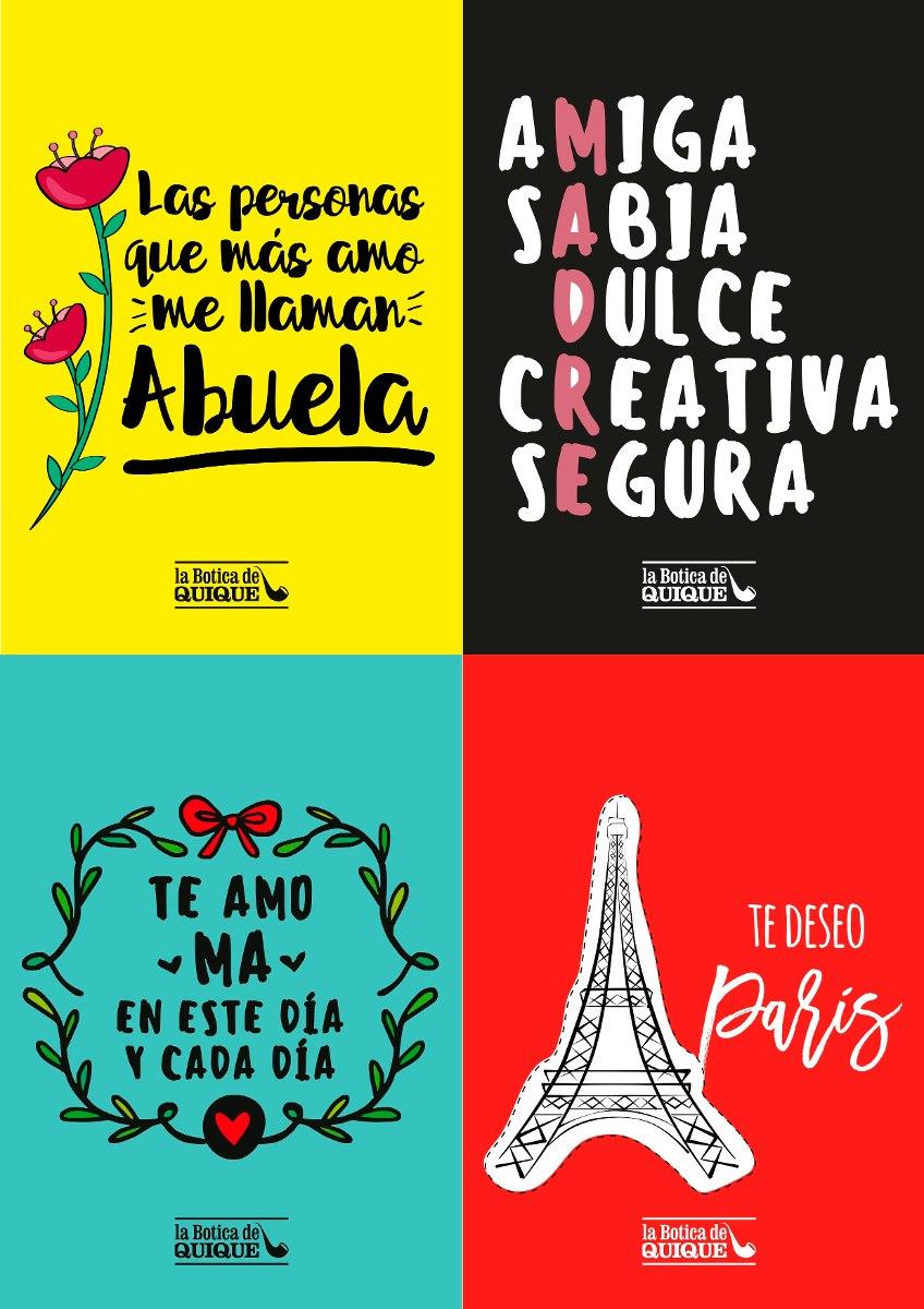 Dia De La Madre 4 Tarjetas Imprimibles Pack2 - $ 40,00 en Mercado Libre