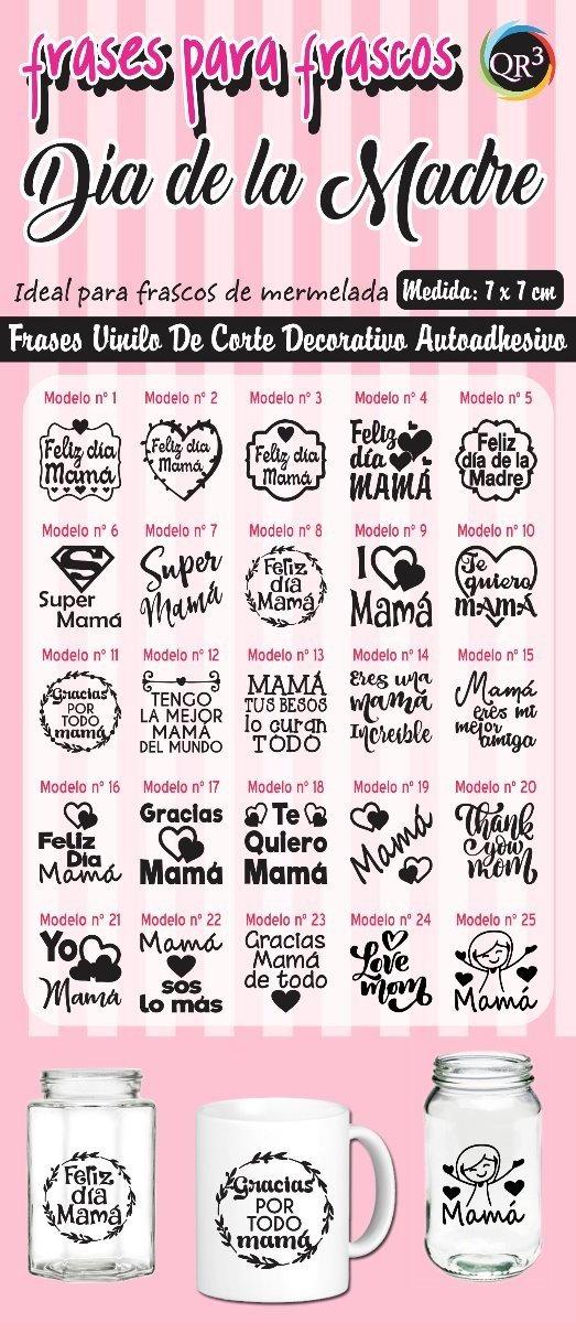 Día De La Madre Vinilo Frases Para Frascos Tazas X 10 Unid