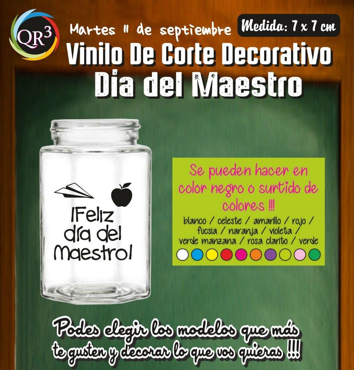 Día Del Maestro Vinilo Frases Para Frascos Tazas X 10 Unid