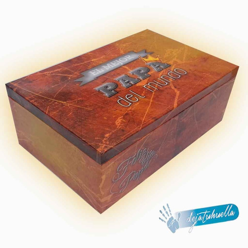 dia del padre cofre de madera personalizado grande