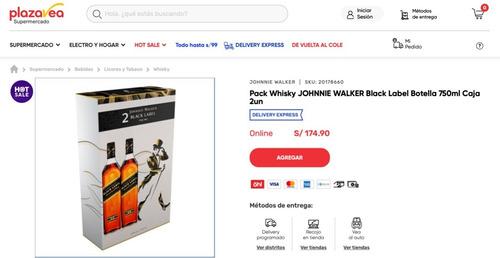 dia del padre whisky johnnie walker (etiqueta negra) caja x2