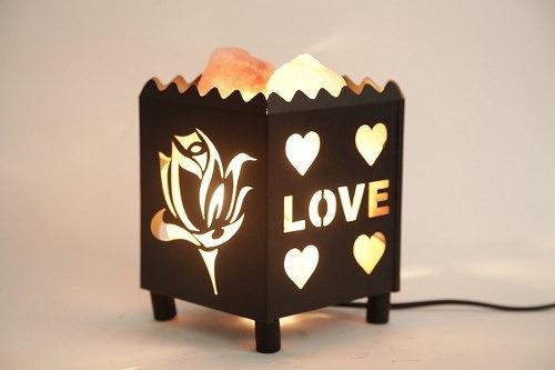 dia natural himalayan salt lamp in flower design metal baske