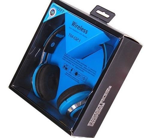 diadema bluetooth escucha musica azul