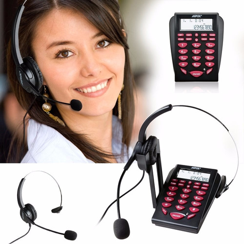 diadema con teléfono call center agptek