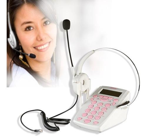 diadema con telefono para call center agptek blanco msi