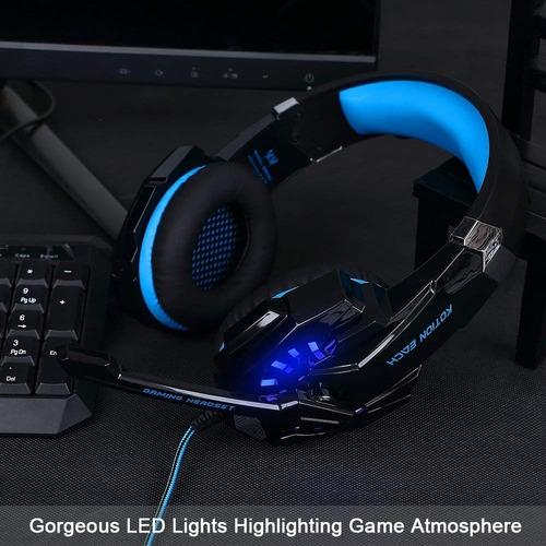 diadema gamer bluefire zn33d-123 3.5mm led ps4 xbox pc azul