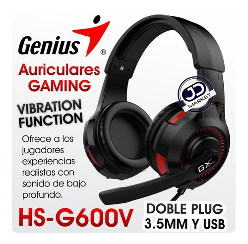 diadema gaming genius gx hs-g600v con función de vibración