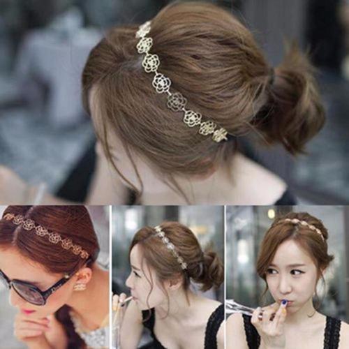 diadema metálica dorada peinados cabello collar accesorios