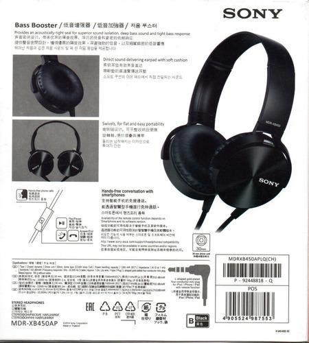 diadema sony stereo headphones mdr-xb450ap negro