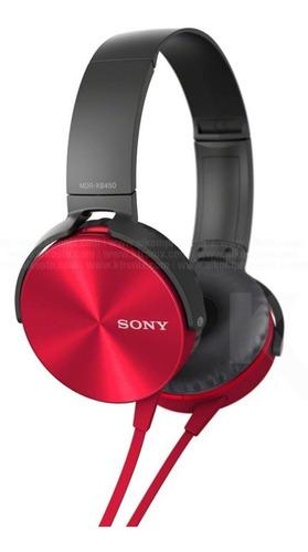 diadema sony stereo headphones mdr-xb450ap rojo