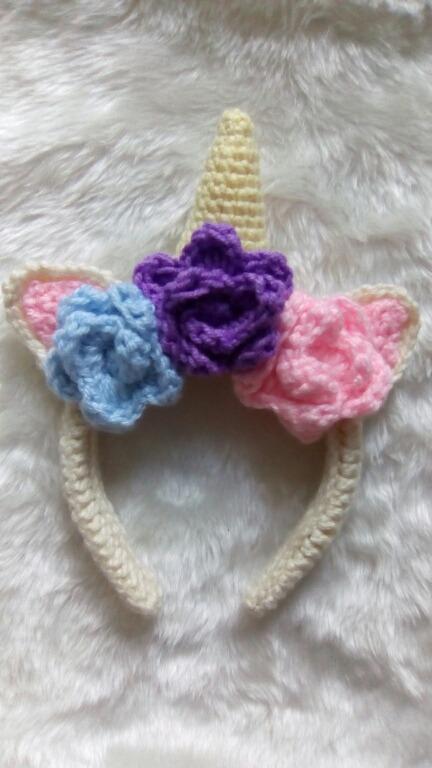 Diadema Unicornio A Crochet - $ 120.00 en Mercado Libre