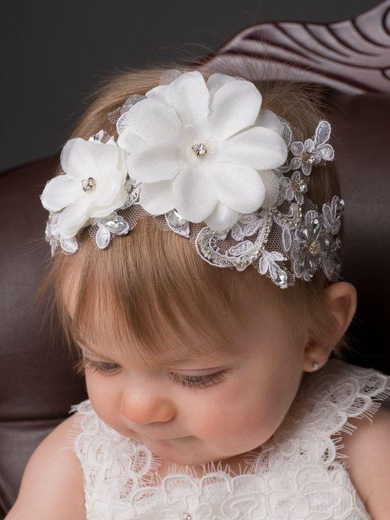 Diademas bandas para bautizo fiesta cristales elegantes - Diademas para bebes bautizo ...