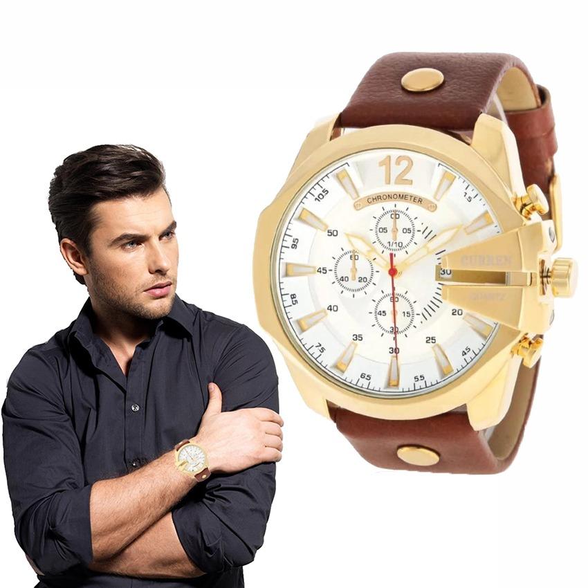 c28443edc9a2 Dial Grande Reloj Moda Hombre Curren Analogo Cuero -   498.69 en ...