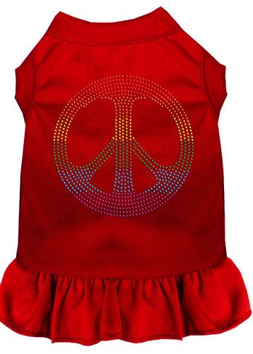diamante de imitación arco iris paz vestido rojo med (12)