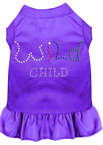 diamante de imitación salvaje child vestido púrpura xs (8)