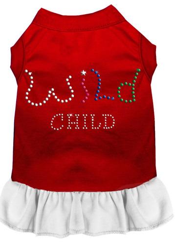 diamante de imitación salvaje child vestido rojo con blanco