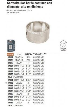 diamante porcelanatos, marmol, corta círculos de 3/4 a 4