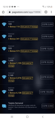 diamantes garena free fire 100