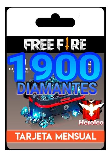 diamantes para free fire 1900 tarjeta mensual 60 por dia