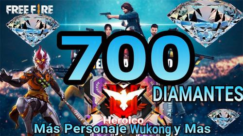 diamantes para free fire 700 + 92 y premios